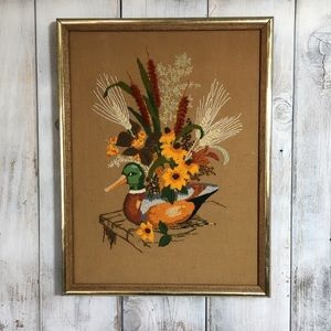 Vintage Finished Embroidery Frames Picture Crewel